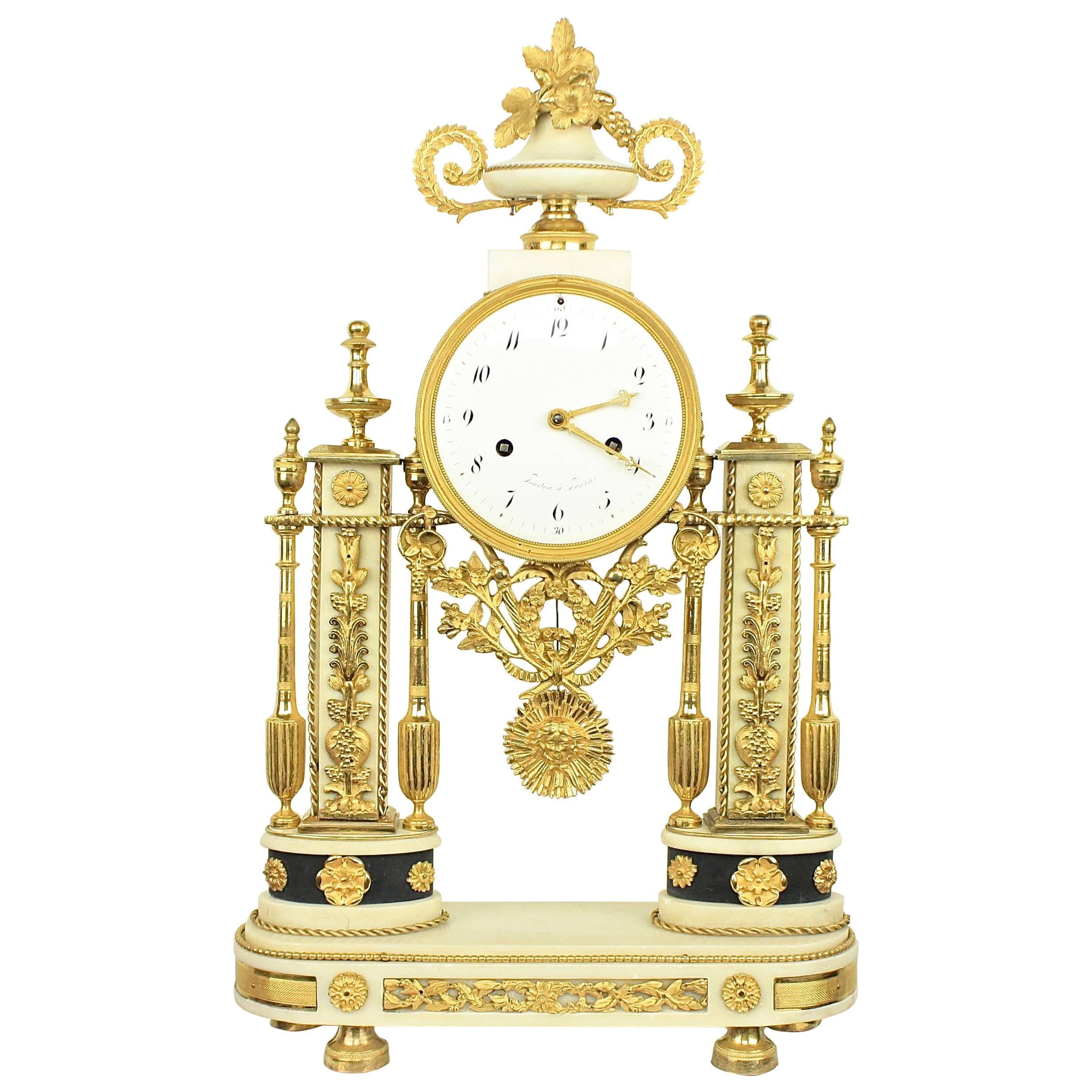 Late 18th Century Louis XVI Carrara and Black Marble Ormolu Portico Mantle Clock