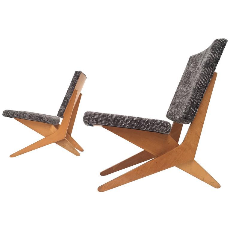 Stunning Pair of FB18 Scissor Chairs by Jan Van Grunsven for UMS Pastoe, 1955