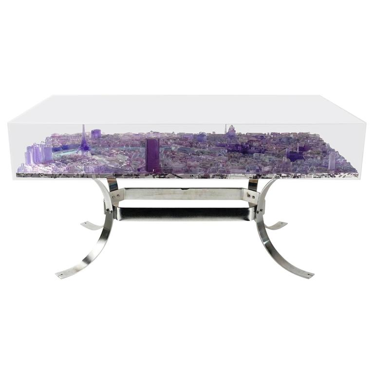 Great Coffee Table By G Lagos Blue Paris From The Cityscapes Series 2016 For Sale At 1stdibs