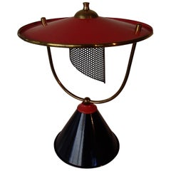 1940 Table Lamp Attributed to Mathieu Mattegot Black Red/pink