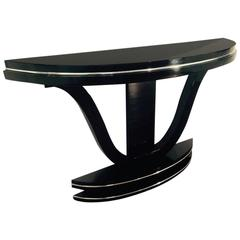 Curved Art Deco Console Table With Mirror Finish For Sale At 1stdibs