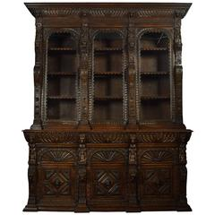 Large Renaissance Revival Carved Oak Three-Door Bookcase