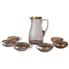 1920 Bohemian Crystal Set of Six Cups and Jug Gold Leaf Paint