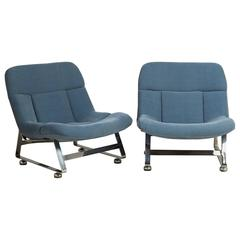 Pair of Chenille Upholstered Lazy Chairs, 1960s
