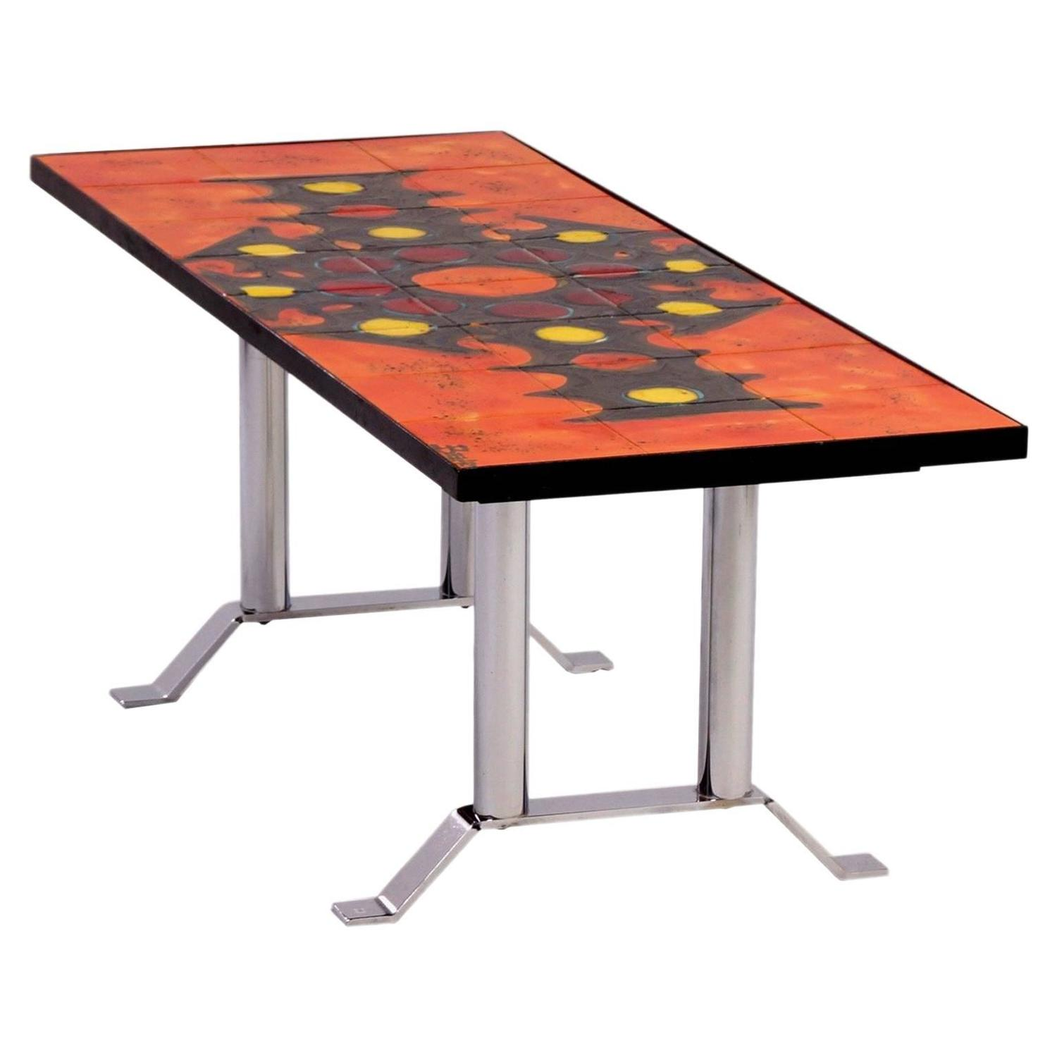 Hand Painted Tile Coffee Table By Belarti 1960s Orange For Sale At 1stdibs