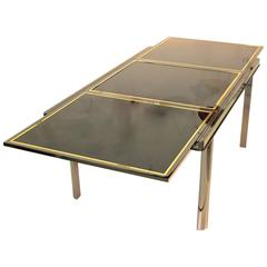 Extending Dining Table Smoked Chrome, Black Glass, Brass Trim