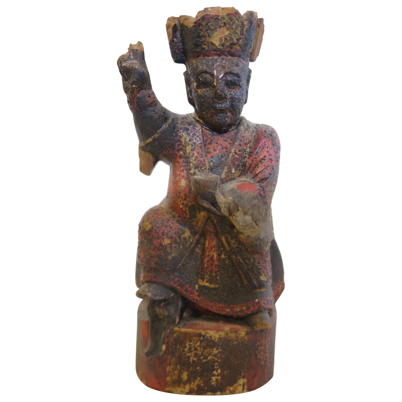 Chinese Folk Art Carved Deity Statue