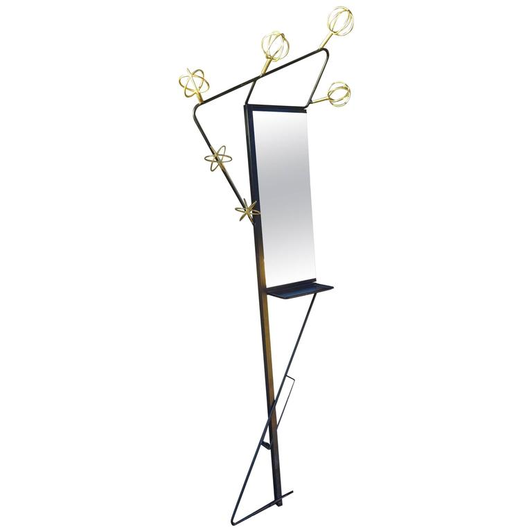 Mid-20th Century French Designer Wall and Mirror Coatstand