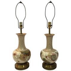 Pair of Art Nouveau Royal Doulton Burslem Floral Lamps