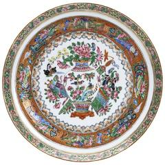 Chinese Qing Famille Rose Scholars Objects Plate, 19th Century