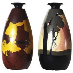 1920-25 Pair of Vases by Louis Giraud - Vallauris, terra cotta - France
