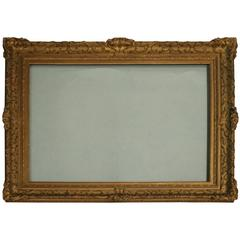 Large Antique Frame, French Gold Gilt Gesso on Wood, Late 19th Century