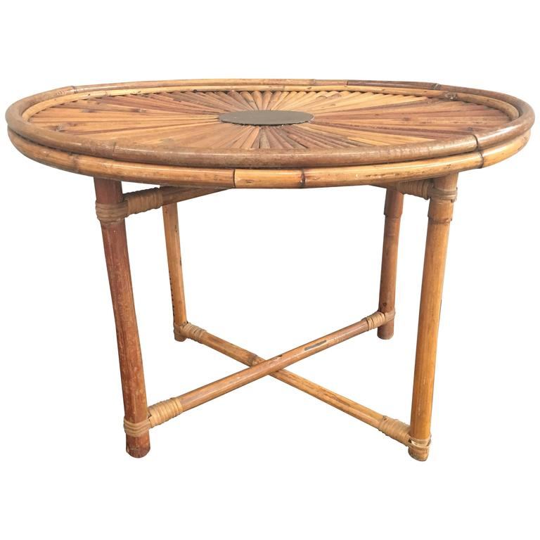 Chic Bamboo Coffee Table Rising Sun Signed Gabriella Crespi At 1stdibs