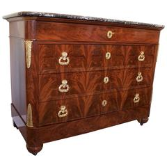 French Louis XVII Period Chest in Flame Mahogany and Marble-Top