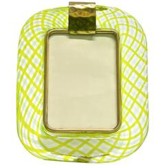 Venini, 1970s Vintage Yellow Green Chartreuse Murano Glass Photo Frame