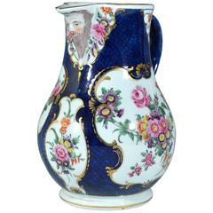 First Period Worcester Large Blue Scale Botanical Mask Jug