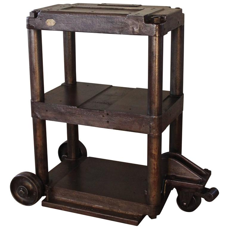 Steel Table Rolling Cart Vintage Industrial Three-Tier Factory Cast Iron