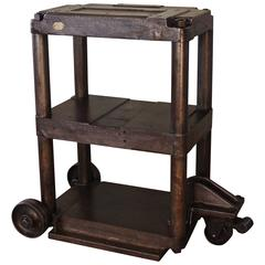 steel table rolling cart vintage industrial threetier factory cast iron