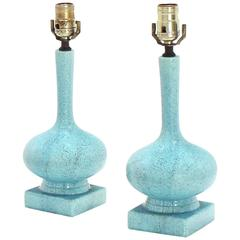 Pair of Pottery Blue Glaze Onion Shape Table Lamps