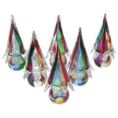 1980s Organic Italian Vintage Colorful Blown Murano Glass Trees Sculptures