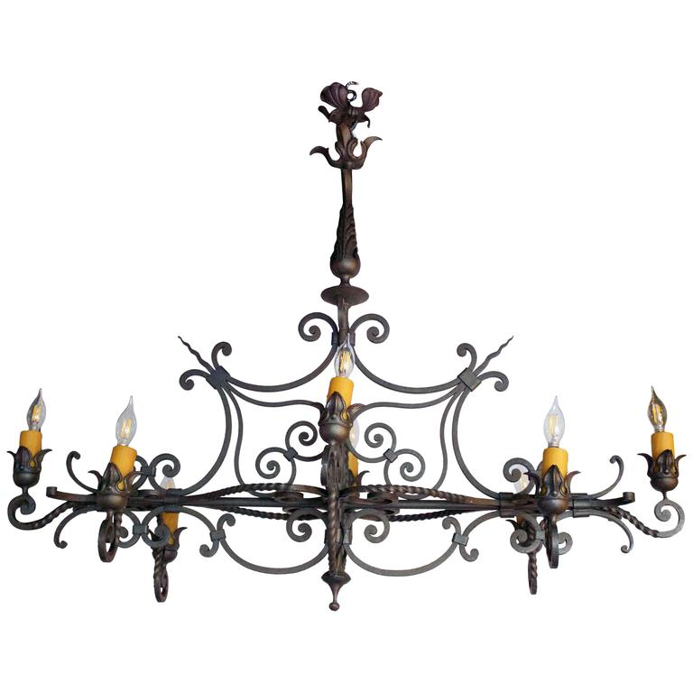 French Wrought Iron Eight-Arm Chandelier 1