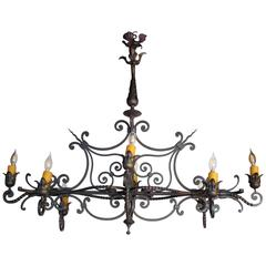 French Wrought Iron Eight-Arm Chandelier