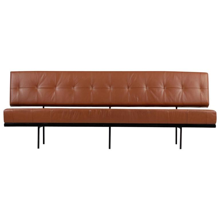 Beautiful 1960s Florence Knoll Custom Daybed Sofa Cognac Leather Mid Century For