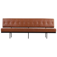 Beautiful 1960s Florence Knoll Custom Daybed Sofa Cognac Leather, Mid-Century