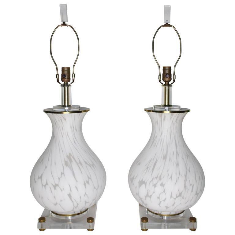 Pair of Mazzega Murano Glass Baluster Lamps