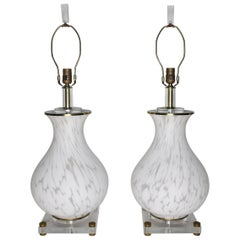 Pair of Mazzega Murano Glass Baluster Lamps