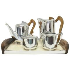 Mid-Century Modern Picquot Ware Six Cup Tea or Coffee Set
