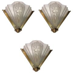 Set of Three French Art Deco Signed Atelier Petitot Ribbed Wall Sconces