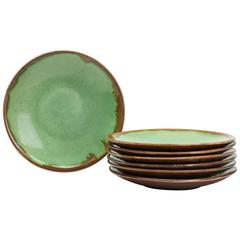 Greber French Art Pottery Set Seven Plates, circa 1899-1933