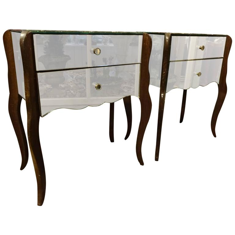 Pair of 1940s French Mirrored Bedside Tables