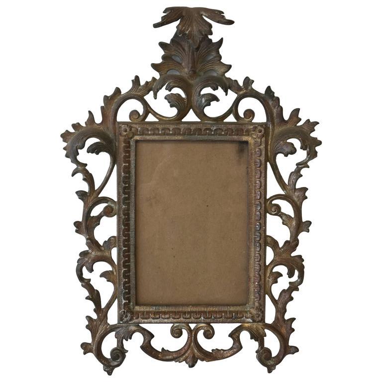 19th Century Art Nouveau Bronze Standing Picture Frame