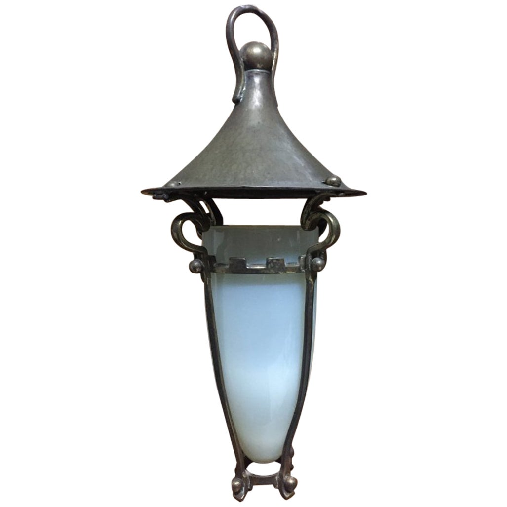 Arts & Crafts Copper & Brass Conical Lantern With Vaseline/Uranium Glass Shade.