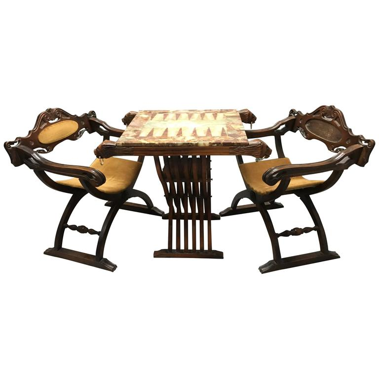 Pair Of Savonarola Chairs And Slatted Folding Table With Onyx Backgammon Board For