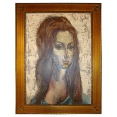Signed Oil on Canvas of a Young Lady with Flowing Hair