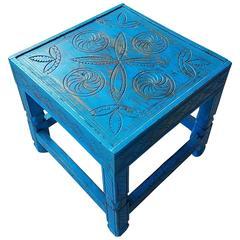 Moroccan Aged Cedar Wood Side Table, Dark Turquoise