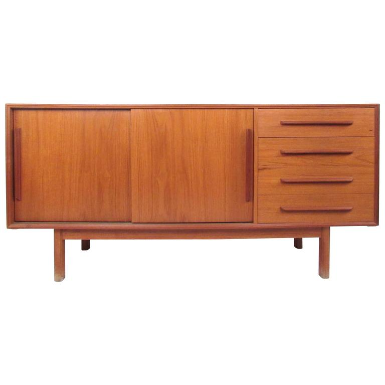 Petite Mid Century Modern Teak Credenza For Sale At 1stdibs