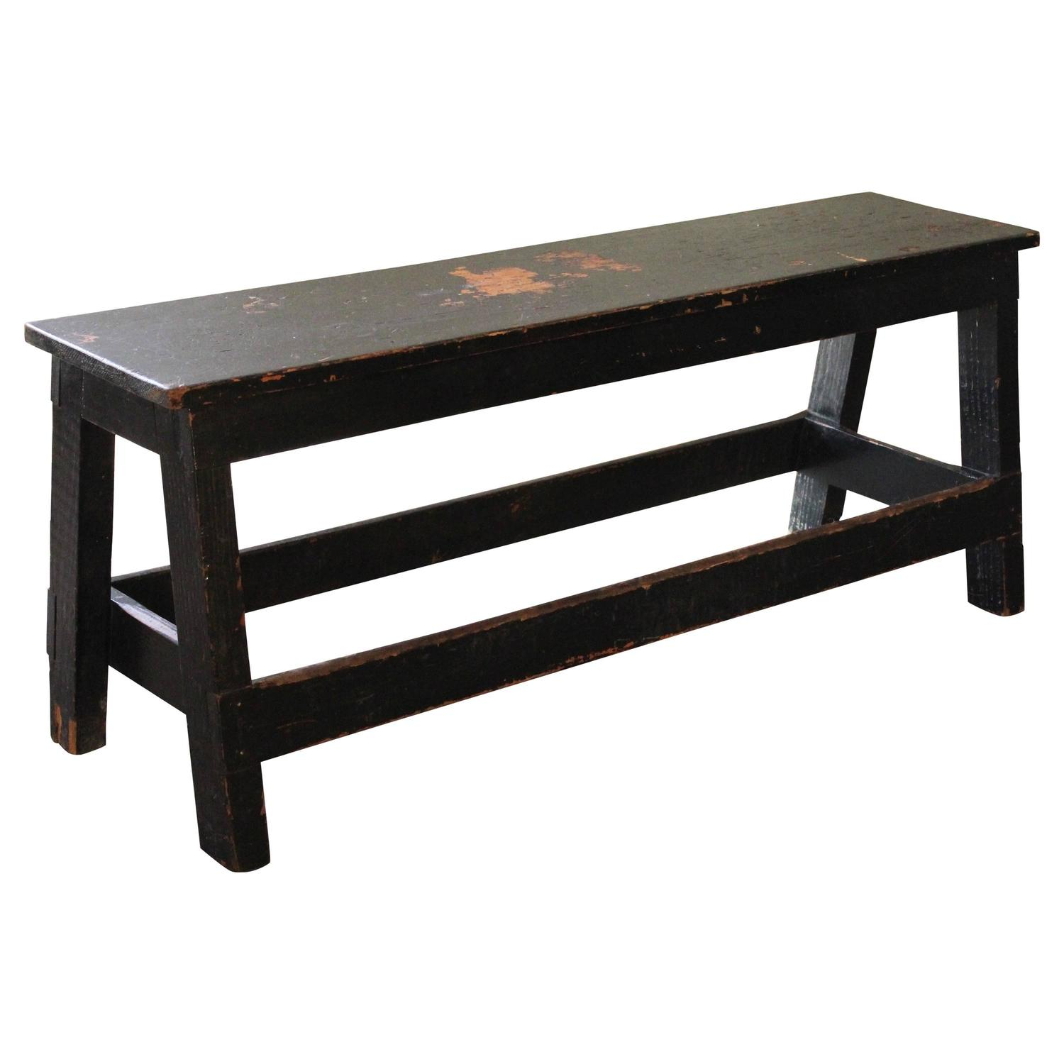 Vintage Industrial Low Work Bench, Wooden Table For Sale ...