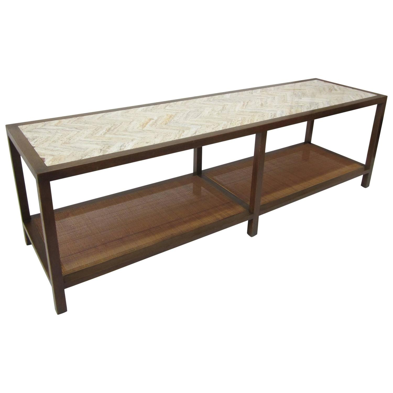 Harvey Probber Chevron Travertine and Cane Cocktail Table Bench