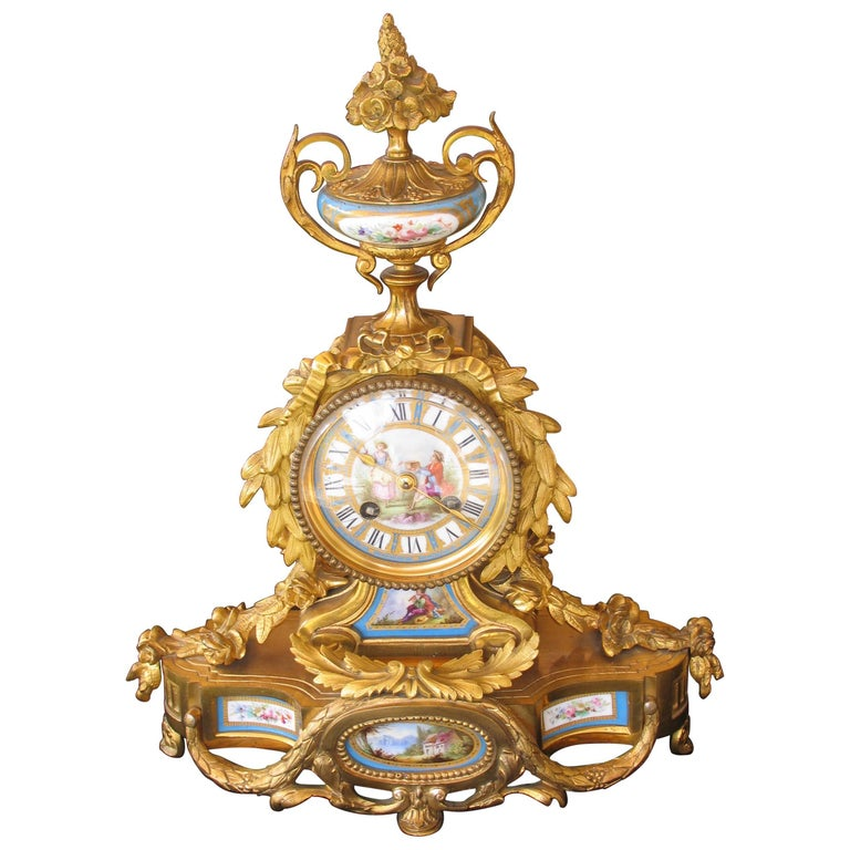 19th Century Louis XV Style Mantel Clock For Sale