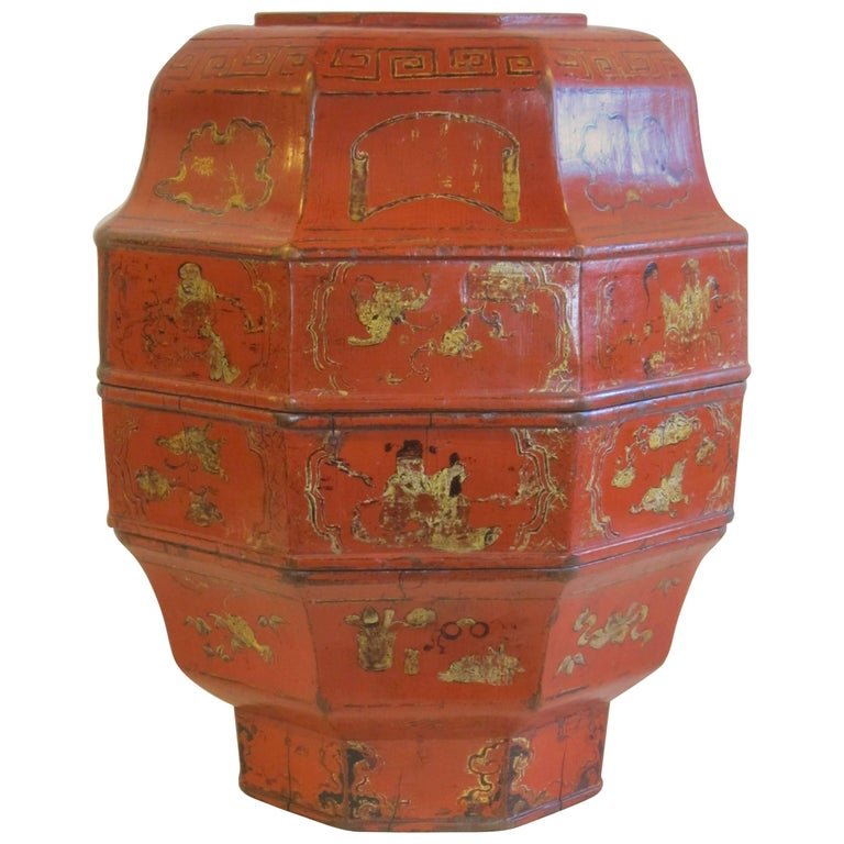 19th Century Octagon Wooden Bowl Box For Sale
