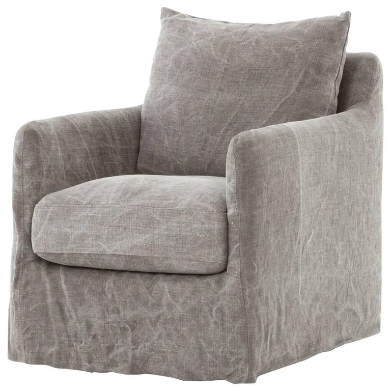 Modern Slipcovered Swivel Chair 1