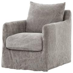 Modern Slipcovered Swivel Chair