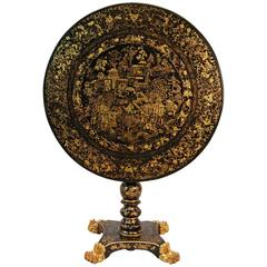 Early 19th Century English Japanned Circular Tilt-Top Dessert Table