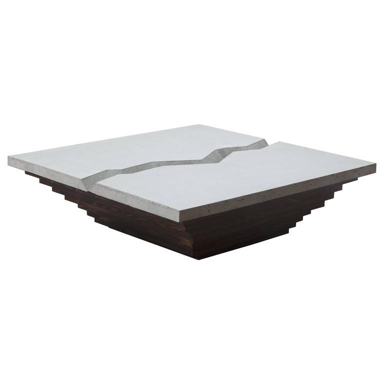 Cast Canyon Coffee Table by Uhuru Design, Polished Concrete and Walnut