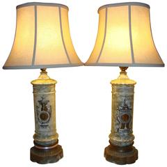 Pair of Paint Decorative Glass Grecian Styled Table Lamps