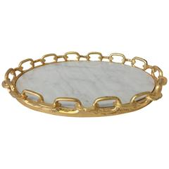 Modern Gilt Chain and White Marble Tray
